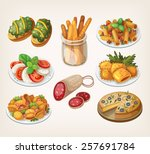 set of traditional italian food ... | Shutterstock .eps vector #257691784