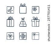 hand drawn icons gifts with... | Shutterstock .eps vector #257701411
