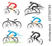 icons with stylized cyclist.... | Shutterstock .eps vector #257705785