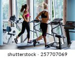 beautiful group of young women... | Shutterstock . vector #257707069