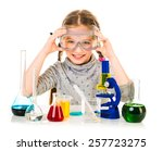 happy little girl with flasks... | Shutterstock . vector #257723275