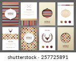 set of brochures in vintage... | Shutterstock .eps vector #257725891