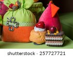 favors on a table outdoor with... | Shutterstock . vector #257727721
