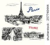 france  paris  eiffel tower  ... | Shutterstock .eps vector #257740444