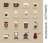 coffee vector icon set menu.... | Shutterstock .eps vector #257746051