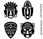 african masks isolated on white.... | Shutterstock .eps vector #257749255