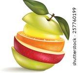 sliced fresh fruit cocktail... | Shutterstock .eps vector #257760199
