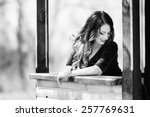 beautiful girl in a dress with... | Shutterstock . vector #257769631