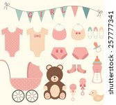 baby shower girl | Shutterstock .eps vector #257777341