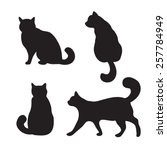 Stock vector vector black cats illustration isolated on white 257784949