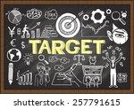 hand drawn target on chalkboard.... | Shutterstock .eps vector #257791615