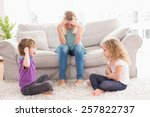 Upset Woman Sitting On Sofa...