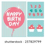 happy birthday card with... | Shutterstock .eps vector #257829799
