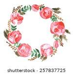 wreath of roses | Shutterstock .eps vector #257837725