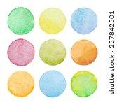 set of pastel watercolor vector ... | Shutterstock .eps vector #257842501