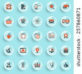 color modern icons on buttons.... | Shutterstock .eps vector #257860871