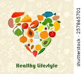 healthy lifestyle vector heart... | Shutterstock .eps vector #257865701