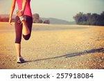 woman runner warm up before... | Shutterstock . vector #257918084