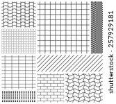 Set Of Grid Patterns In Black...