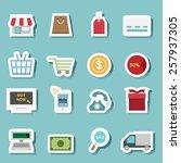 illustration of shopping icon... | Shutterstock .eps vector #257937305