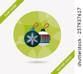 christmas ball flat icon with... | Shutterstock .eps vector #257937617