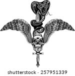 Winged Skull With Sword And...