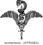 winged skull with sword and... | Shutterstock .eps vector #257952821