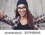 Hipster Girl In Glasses And...