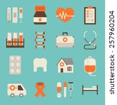 medical color icons isolated on ... | Shutterstock .eps vector #257960204