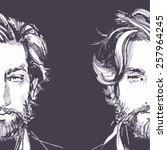 hair. beard.  beautiful... | Shutterstock .eps vector #257964245