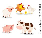 farm animals. set of cartoon... | Shutterstock .eps vector #257965181