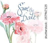 save the date with watercolor... | Shutterstock .eps vector #257967125