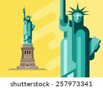 flat vector statue of liberty | Shutterstock .eps vector #257973341