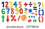 Colorful Alphabet (Second Part - Digits and symbols) made from plasticine (isolated on white). Use it to make your own message. - stock photo