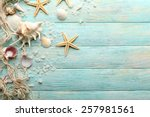 Sea Stars And Shells On Wooden...