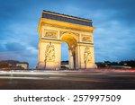 arc de triomphe in paris by... | Shutterstock . vector #257997509