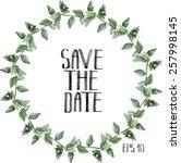 watercolor oregano wreath.... | Shutterstock .eps vector #257998145