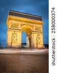 famous arc de triomphe in paris ... | Shutterstock . vector #258000374
