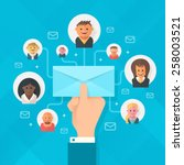 concept of running email... | Shutterstock .eps vector #258003521