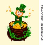 cheerful patrick on the pot of... | Shutterstock . vector #258009461