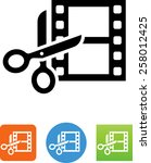 movie film strip with scissors... | Shutterstock .eps vector #258012425