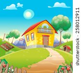 house with garden int the... | Shutterstock .eps vector #258012911