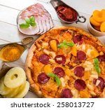 exotic pizza with pineapple and ... | Shutterstock . vector #258013727