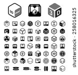 3d print icon set | Shutterstock .eps vector #258016325