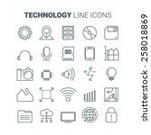 line technology icons. vector... | Shutterstock .eps vector #258018869