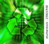 Green recycling symbol conceptual illustration - stock photo