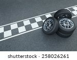 3d rendering pile of wheels on... | Shutterstock . vector #258026261