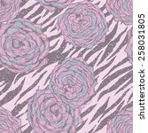 seamless floral pattern hipster ... | Shutterstock .eps vector #258031805