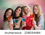 friends with drinks against... | Shutterstock . vector #258034484