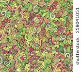 easter doodles vector seamless... | Shutterstock .eps vector #258041051